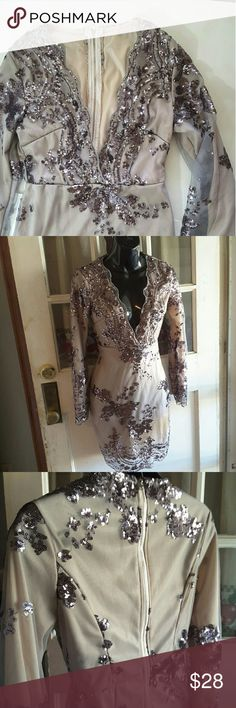 Sequin event dress Cream cooler dress with gray mesh Sequin floral details  vneck long sleeve dress 15 inches from armpit to armpit 34 inches long is missing tags Dresses Long Sleeve