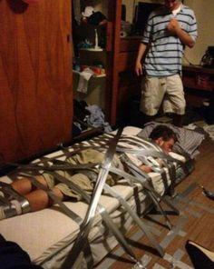 #bestbuds shhh sleep now. #ducktape #collegelfe #hilarious #prank #bestvineever
