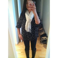 F21 polka dot smocked top, LOFT legging jeans, Lord & Taylor scarf, Cole Haan Air Talia boots, Tiffany & Co. jewelry.