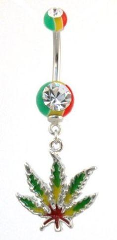 #BodyJewellery Navel Bars - #Rasta Leaf Dangle #BellyBar #Weed #Jamaica