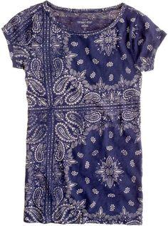 J crew indigo blue engineered bandana print