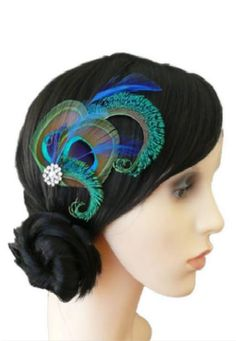 fa0b107397072 Peacock Feather Clip Table Dance Hair Accessories. Royal Blue FascinatorGreen  FascinatorBridesmaid Hair AccessoriesWedding ...