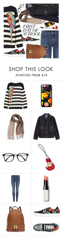 """First Day of School"" by ivansyd ❤ liked on Polyvore featuring Marc Jacobs, Overland Sheepskin Co., AlexaChung, Bottega Veneta, 7 For All Mankind, Bobbi Brown Cosmetics, George J. Love and BackToSchool"