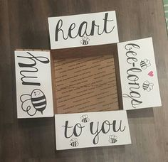 Military Care Package My Heart Bee-longs To by LoveAcrossTheMiles Bf Gifts, Diy Gifts For Boyfriend, Cute Gifts, Deployment Care Packages, Deployment Gifts, Care Package Decorating, Bff, Care Box, Presents For Him