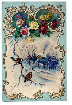 Victorian Clip Art - Beautiful Winter Scene + French Frame - The Graphics Fairy