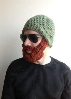 Handmade+Crochet+Beard+Hat+in+Green+beanie+hat+with+by+SueStitch,+$29.99