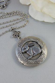 Petunia,Locket,Rabbit,Silver Locket, Locket, Antique,Woodland,Bunny,Easter, jewelry by valleygirldesigns via Etsy