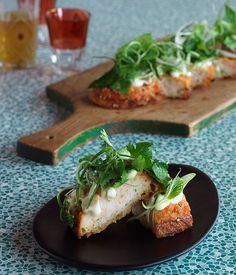 Australian Gourmet Traveller recipe for prawn toast with yuzu mayonnaise, coriander and mint by Dan Hong.