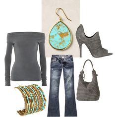 ohhh, grey and turquoise.  #style #fashion