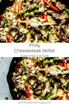 This Philly Cheesesteak Skillet is an easy one skillet meal packed with tender steak, crisp veggies, and perfectly melt-y cheese. The entire recipe will take less than 30 minutes to make and your whole family will love this quick, satisfying , and low carb meal! #cheesesteak #skillet #glutenfree Healthy Cook Books, Good Healthy Recipes, Lunch Recipes, Gluten Free Recipes, Healthy 30 Minute Meals, Yummy Recipes, Yummy Food, Cheese Recipes, Healthy Foods