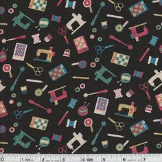 Retro Sewing - Tools Scatter - Black