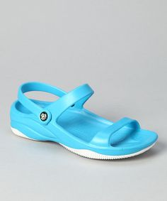 Take a look at this Peacock Blue & White Triple-Strap Sandal - Women by DAWGS on #zulily today!