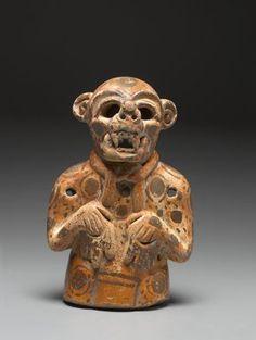 Ceramic effigy vessel in the form of a jaguar. Maya. 400-500 A.D.   Brooklyn Museum of Art