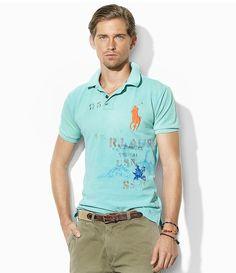Polo Ralph Lauren Custom-Fit Graphic Mesh Polo Shirt | Dillards.com