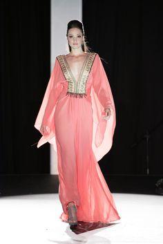 Couture Collection, Chiffon Dress, Embellishments, Coral, Sari, Dresses, Fashion, Chiffon Gown, Moda