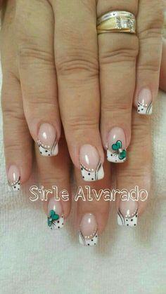 Fancy Nails, Diy Nails, Cute Nails, Pretty Nails, Uñas Diy, Flower Nail Art, French Tip Nails, Stylish Nails, Creative Nails