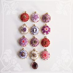 Handmade Fabric Charms 20mm  Set of 12 Berry Basket by lovelui,