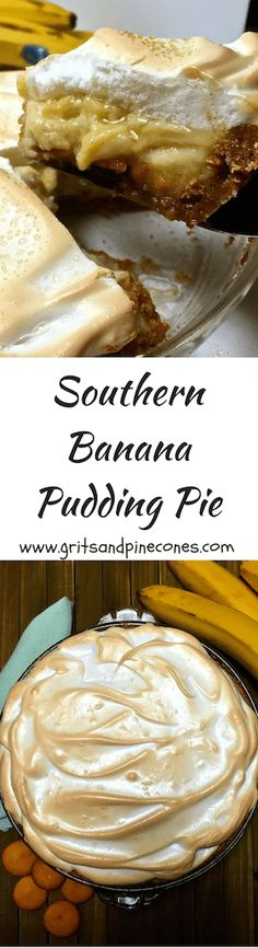 Southern Banana Pudding Pie has a vanilla wafer crust,  bananas, decadent vanilla custard, and light as a cloud meringue.  via @http://www.pinterest.com/gritspinecones/