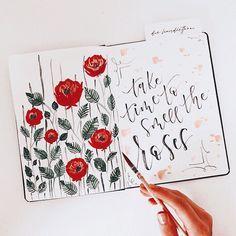 """Tanja von Die Handletterei on Instagram: """"#watercolorroses #watercolorlove #flowerseverywhere 🌾🌹 . . . #watercolorart #watercolorflowers #watercolorflorals #watercolor_blog…"""""""