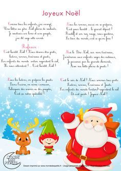 Paroles_Chanson de Noël : Joyeux Noël ! Teaching Kindergarten, Teaching Kids, Christmas Carol, Kids Christmas, French Poems, French Language Lessons, French Kids, Teaching French, Book Images