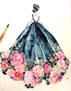 8 x 10 Rose dress indigo fashion watercolor illustration Illustration Mode, Watercolor Illustration, Watercolor Art, Watercolor Dress, Watercolour Flowers, Dress Painting, Watercolor Pictures, Arte Fashion, Fashion Fashion