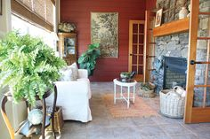 A Canadian cottage comes together with the help of interior designer Holly Mathis. They created a cohesive space with traditional style and farmhouse flair. Canadian Winter, Cozy House, Sunroom, Porches, Farmhouse, Cottage, Patio, Journal, Flooring