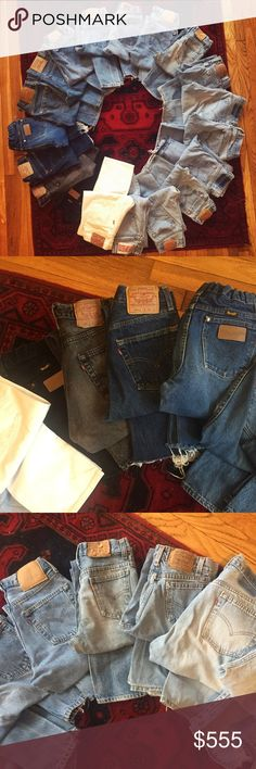 💕👖Listing TONS of Vintage Levi's this Week!👖💕 Hey ladies I'm baaaaack! I took a short break for my college graduation and my family being in town for that so as you can see, I'm pretty behind in listing my Levi's! I have a pretty big stockpile full of all fits and sizes! They are all sizes 23-28, 501s, 512s some wranglers and other brands too! Some have been altered for that beautiful Redone look! If you're wondering if I have a certain size or style, just ask! These will all be listed…