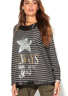 Prúžkovaný pulóver s trblietavou potlačou #Modinosk December, Sweaters, Women, Fashion, Moda, Fashion Styles, Sweater, Fashion Illustrations, Sweatshirts