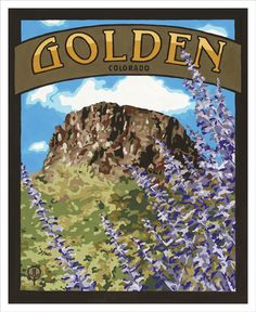 Golden Colorado - Gouache on Pressed Board.  Original art and high quality goache prints by Julie Leidel.  See (and maybe even buy) her work at www.bungalowcraft.com.