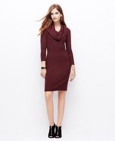 Cowl Neck Sweater Dress l Ann Taylor Sweater dresses are the perfect office staple to keep warm  and cozy, while looking polished!