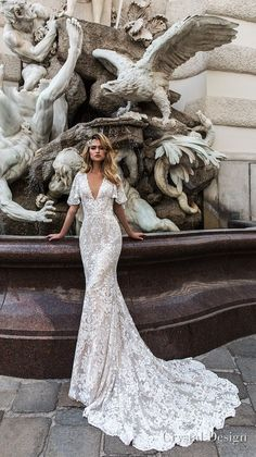 crystal design 2018 half handkerchief sleeves v neck full embellishment elegant fit and flare wedding dress covered lace back medium train (indira) mv -- Crystal Design 2018 Wedding Dresses