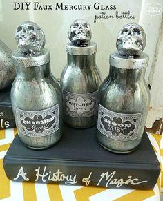 DIY Faux Mercury Glass Potion Bottles #halloween #mercuryglass www.uncommondesignsonline.com Halloween Spell Book, Halloween Spells, Halloween Apothecary, Halloween Potions, Halloween Labels, Apothecary Jars, Halloween Trophies, Halloween Home Decor, Diy Halloween Decorations