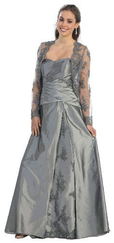 Mother of the Bride Formal Evening Dress #2731 ~ Colours available include:  Burgundy, Gold, siver, Eggplant (purple) and Navy Blue. Superior materials used, colours are brighter than they appear in pictures. Very Classy but sizes do tend to run very small ... must use manufacturers sizing charts. I prefer the Navy colour but the silver shows the sparkly embellishments best!