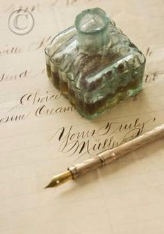 Quill pen and ink bottle on old letter perhaps was used to write the sweetest of love letters Handwritten Letters, Calligraphy Letters, Old Letters, Dip Pen, Fountain Pen Ink, Letter Writing, Pen And Paper, Writing Instruments, Quilling