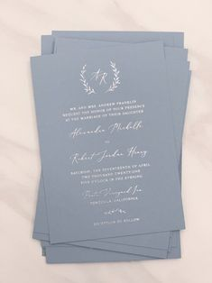 Dusty Blue Wedding Invitation with Wreath Monogram