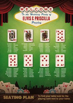 Las Vegas Casino themed Wedding Seating Table Plan