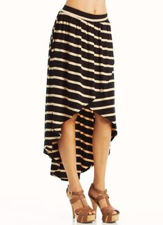 striped high-low skirt $34.00