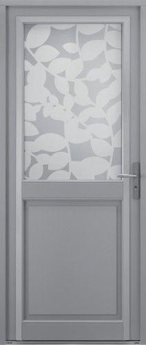 Porte bois, Porte entree, Bel'm, Contemporaine, Poignee plaque gris deco bel'm, chache fiches couleur argent, Mi-vitree, Triple vitrage sable, Muscade
