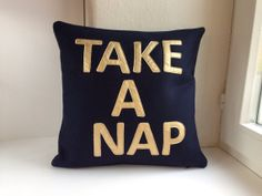TAKE A NAP Pillow Cover - pillow case 40x40 cm (ca. 16x16 in), dark blue knitted and felted wool fabric with gold letters applique, zipper
