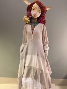 L/XL Bohemian Lagen Look Scarf Dress-Off-White Boho Artistic Clothing-Thermal T-Shirt Dress-Raggandbone Junk Gypsy Free People Style-Sz L/XL