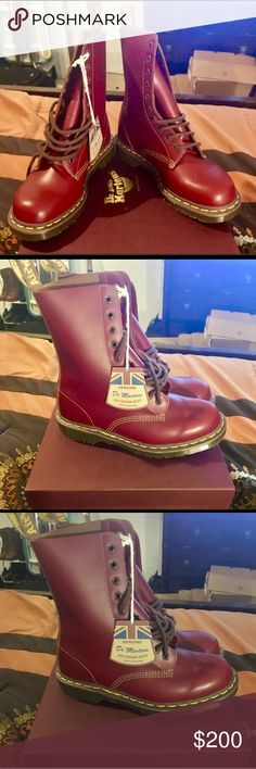 """Dr. Marten MIE 1490 NIB. DISCONTINUED! Made in England. Vintage 1490-10 eye. Price is FIRM! Color (Oxblood). Sz (US 8W).                           📫 Same/Next day Shipping 💔 Pay Pal 💔 Trades 🚫 No Haggling  🐶 Free home 🚬 Free home Please do not negotiate price in the comments area. If my listing states """"Price is FIRM"""" that's exactly what I mean. For other listings, please use the offer tool🔧 Thanks for checking out my closet  🍭SweetLady🍬 Dr. Martens Shoes Combat & Moto Boots"""