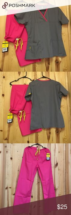 """Wonderwink Scrub Set Medium Excellent Condition Excellent Condition Pant is Cargo Regular Length Inseam 30"""" Top Has 2 Front Pockets Gray with Pink Trim I think the pink is a perfect match Wonderwink Other"""