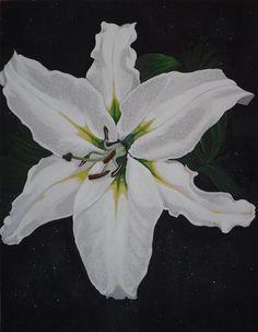 Lys Blanc sur Fond Noir n° 1 Fond noir pailleté multicolore Acrylique sur toile  Dimensions 70x90 cm