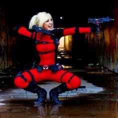 Lady Deadpool cosplay by jessica nigri Deadpool Cosplay, Lady Deadpool, Marvel Cosplay, Halloween Cosplay, Cosplay Costumes, Halloween Costumes, Cosplay Ideas, Jessica Nigri, Dc Movies