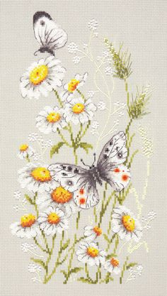 Cross Stitch Patterns Counted Cross Stitch Kit Wonderful Needle - On Daisy Meadow - Counted Cross Stitch Patterns, Cross Stitch Designs, Cross Stitch Embroidery, Embroidery Patterns, Hand Embroidery, Butterfly Cross Stitch, Cross Stitch Flowers, Cross Stitching, Needlepoint