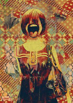 Cellection - Nabil Bereriche 2013  Er missen lichaams delen en het lijkt alsof ze scheeuwt uit woede of angst. Vooral omdat je de ogen niet ziet hoort hij thuis in deze map.