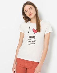 Bershka España - Camiseta BSK texto I love chocolate
