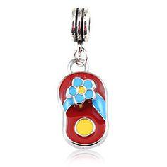Pandora style bead enamel dangle Flip Flop blue flower Fits Pandora Chamilia $6.49