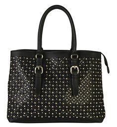 Diophy Women Laser Cut Stars Pattern Studs Dual Compartments Tote Handbag GS-2952 (Black) *** Visit the image link more details.