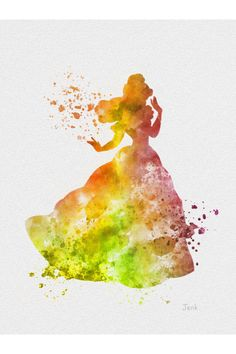 could easily do a disney series by putting template of silouette and then doing watercolor Disney Dream, Cute Disney, Disney Magic, Disney Art, Watercolor Disney, Watercolor Art, Watercolour Paintings, Beauty And The Beast Art, Beauty Beast